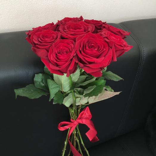 9 красных роз ( 50 см ): букеты цветов на заказ Flowwow