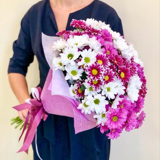 Хризантемы микс в упаковке: букеты цветов на заказ Flowwow