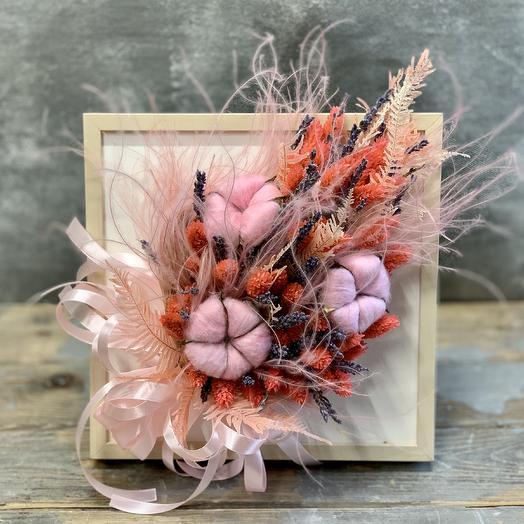 Интерьерная композиция с сухоцветами :лавандой, натуральным хлопком и стифой: букеты цветов на заказ Flowwow