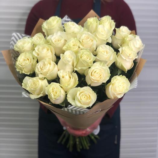 25 белых роз 60 см (Эквадор) Премиум: букеты цветов на заказ Flowwow