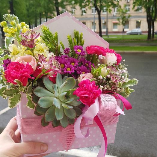 """Конвертик """"Розовое послание"""": букеты цветов на заказ Flowwow"""