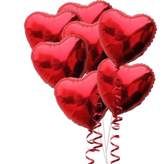 Шары фольгированные с гелием 7 шаров сердце