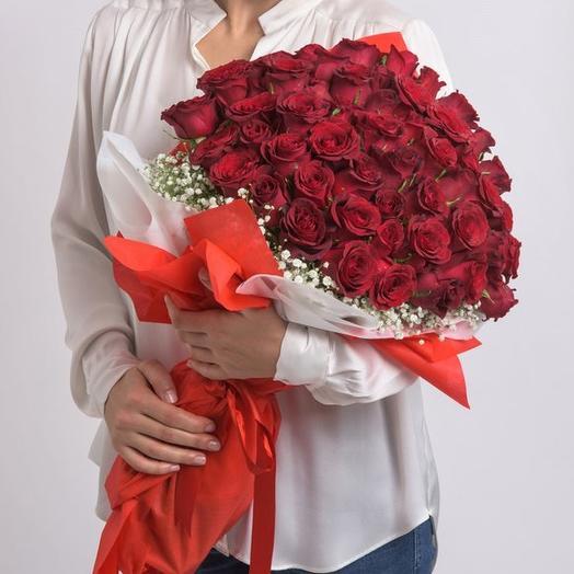 45 красных роз в упаковке