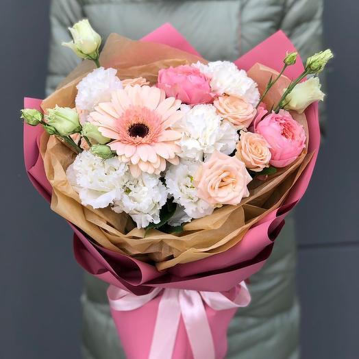Bouquet of gerbera, eustoma and Bush roses Lightness
