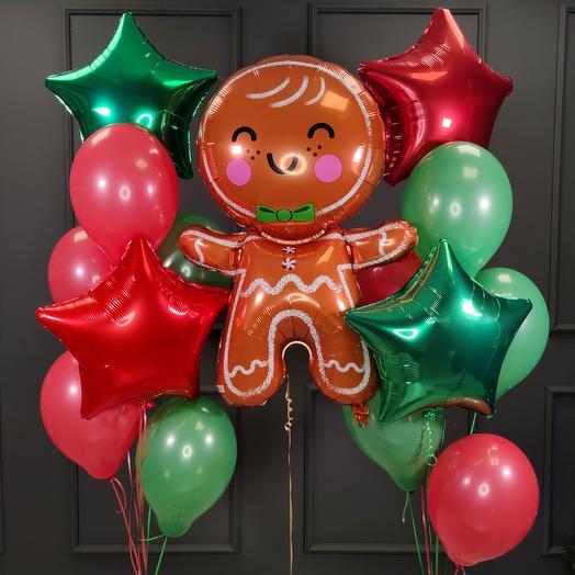 Композиция из шаров на Новый год с печенькой