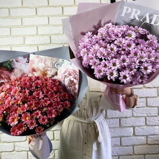 Нежный букет хризантем (2 варианта)