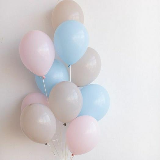 """Связка воздушных шаров""""голубой-песочный-розовый"""""""