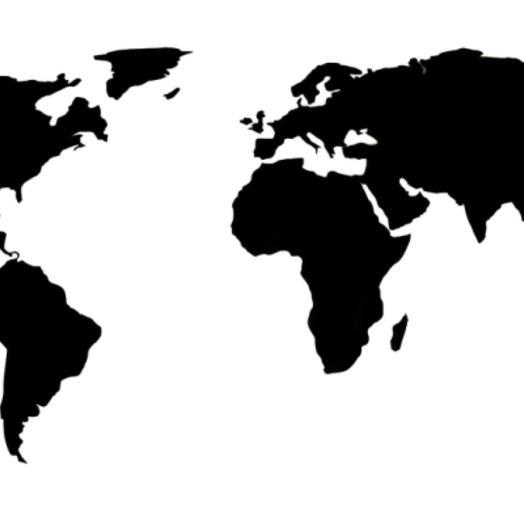 Деревянная карта мира 80х40 см (Черная)