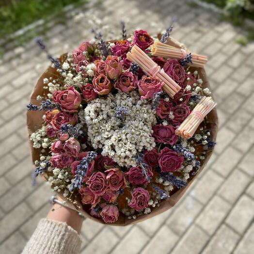 Букет сухоцвет Розовый