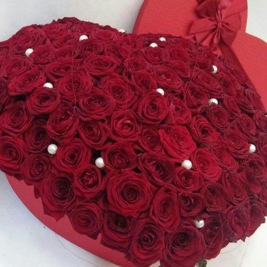Большое сердце 101 роза