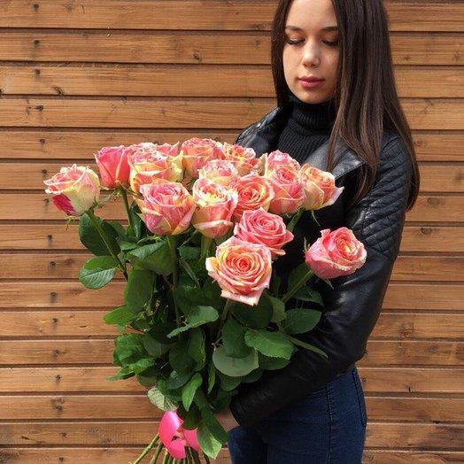 "15 роз 80 см под ленту ""Фиеста"" : букеты цветов на заказ Flowwow"