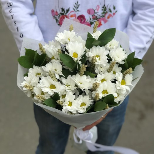 Хризантемы Белая. Колоски Пшеницы. N181: букеты цветов на заказ Flowwow