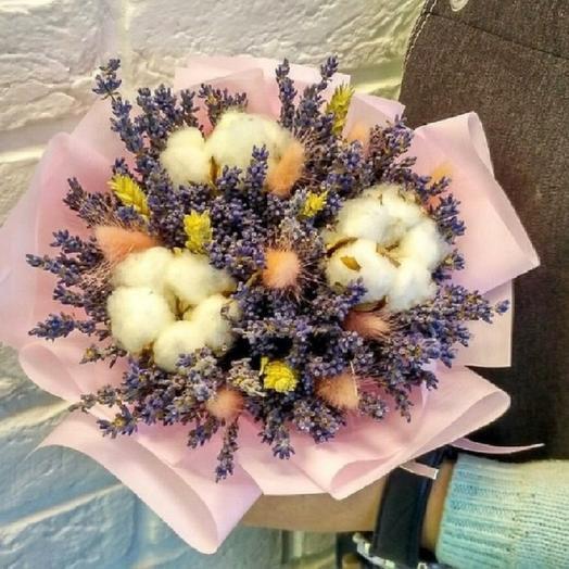 Букет из сухоцветов с хлопком: букеты цветов на заказ Flowwow