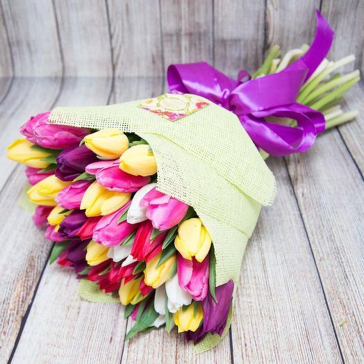 Великолепный тюльпановый микс 51 шт: букеты цветов на заказ Flowwow