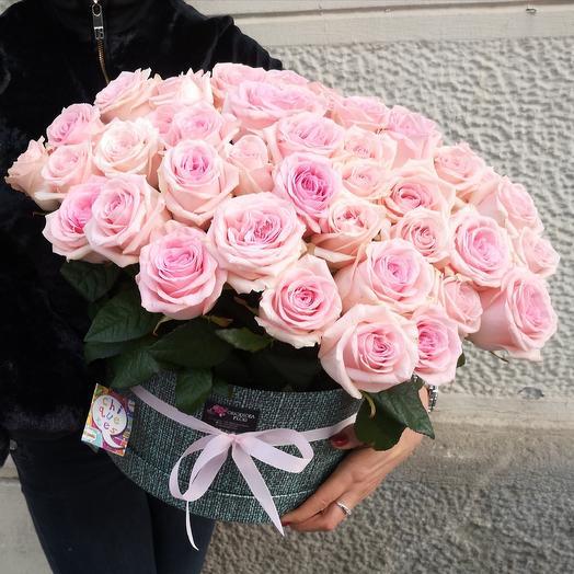 51 розовая роза box