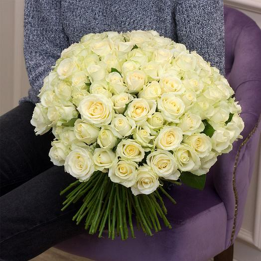 """Букет из """"101 белой розы"""": букеты цветов на заказ Flowwow"""