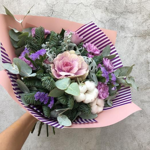 Авторский букет с брассикой: букеты цветов на заказ Flowwow