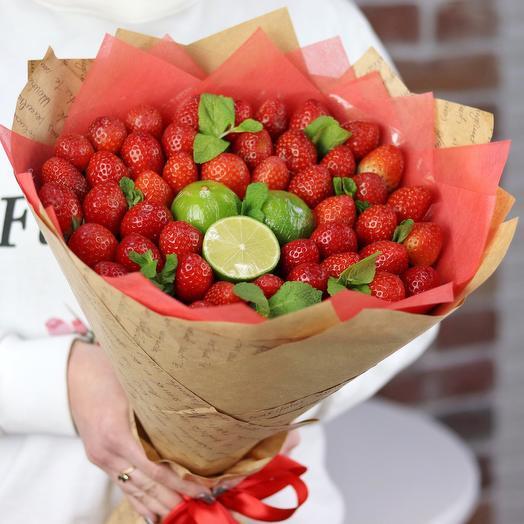 Букеты из фруктов. 🍓Клубника🍓, лайм🍋 , мята. N231