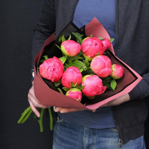 9 пионов. Coral Charm. Premium: букеты цветов на заказ Flowwow