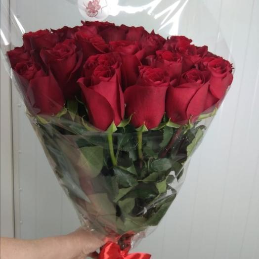 25 красных роз Эквадор 70 см