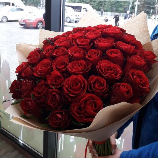 Букет из 51 красной розы 60см