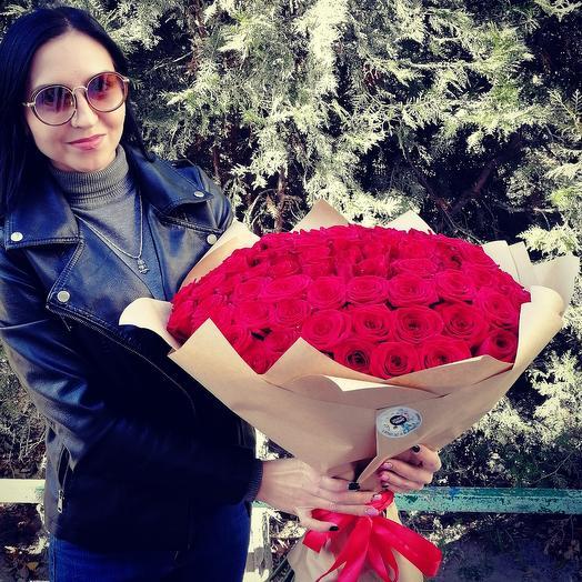 101 роза в крафте для самой лучшей на свете