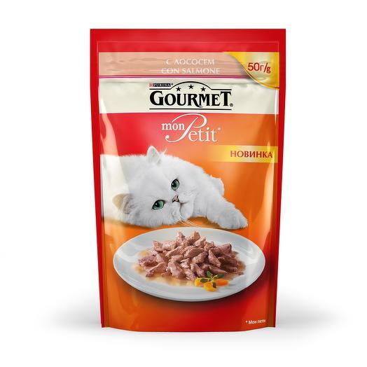 Gourmet Mon Petit консервы (пауч) кусочки в соусе с лососем для кошек 50 г