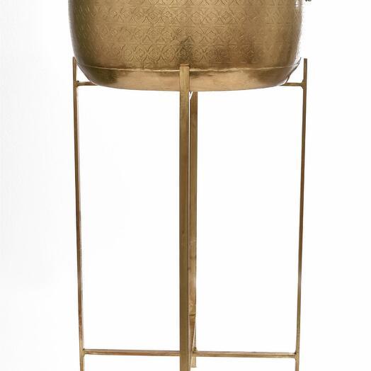 Металлическая круглая ваза с гравировкой на складной напольной подставке, большая/малая (Размер-Большая)