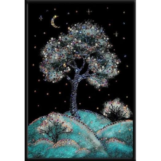 """Картина с кристаллами Swarovski """"Зимняя вишня"""""""