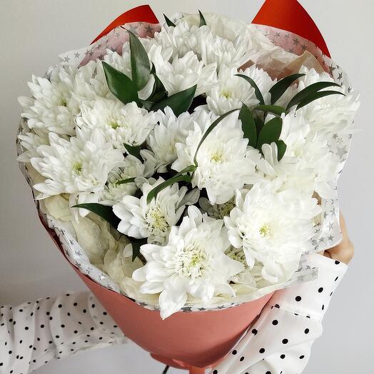 Охапка белой хризантемы (5штук)