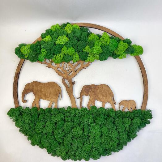 Панно 50 см Слоны под деревом