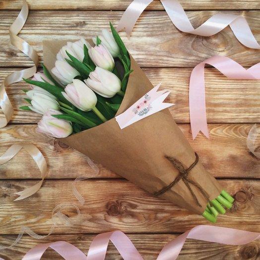 ПИОНОВИДНЫЕ ТЮЛЬПАНЫ В КРАФТЕ (9 шт): букеты цветов на заказ Flowwow