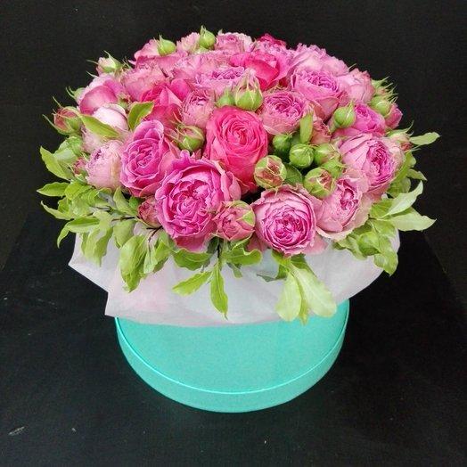 Пионовидные розы мисти баблз в коробке: букеты цветов на заказ Flowwow