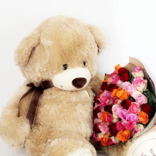 Букет 51 кения + Медведь 110 см: букеты цветов на заказ Flowwow