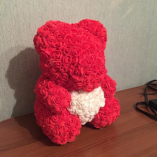 Хит сезона! Мишка из роз красная: букеты цветов на заказ Flowwow
