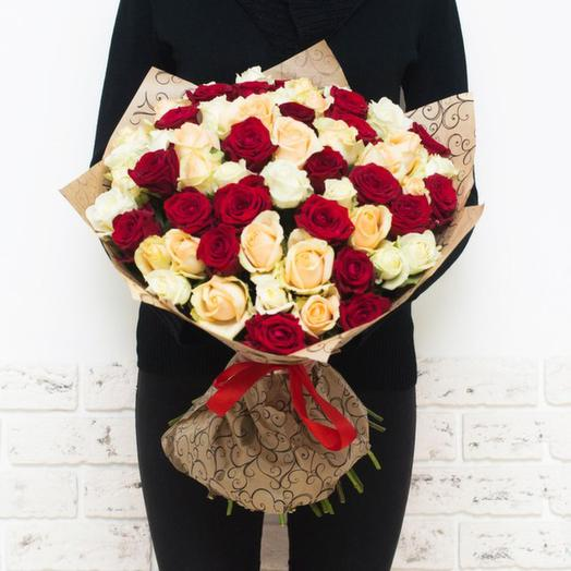 Букет из 39 российских роз: букеты цветов на заказ Flowwow