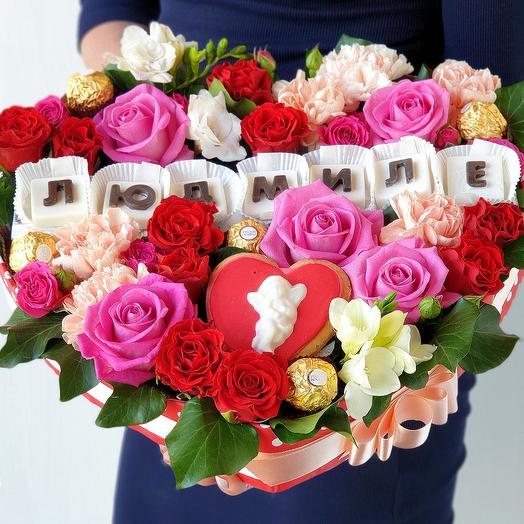 Сладкий подарок сердце Людмиле: букеты цветов на заказ Flowwow
