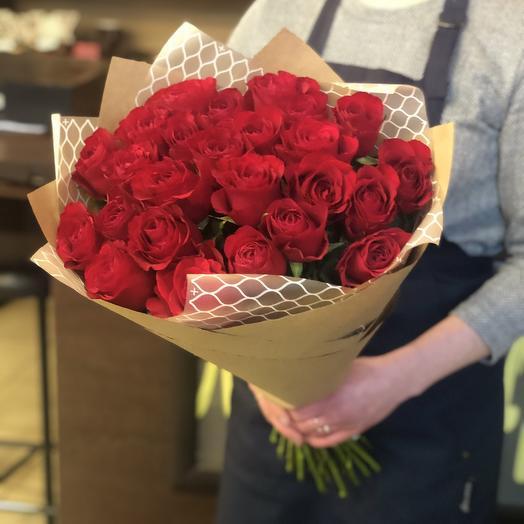 25 Красных роза: букеты цветов на заказ Flowwow