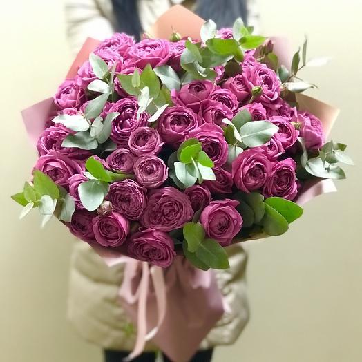 Букет из 19 кустовых пионовидных роз: букеты цветов на заказ Flowwow