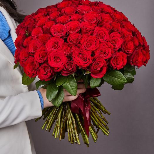 101 красная премиальная роза
