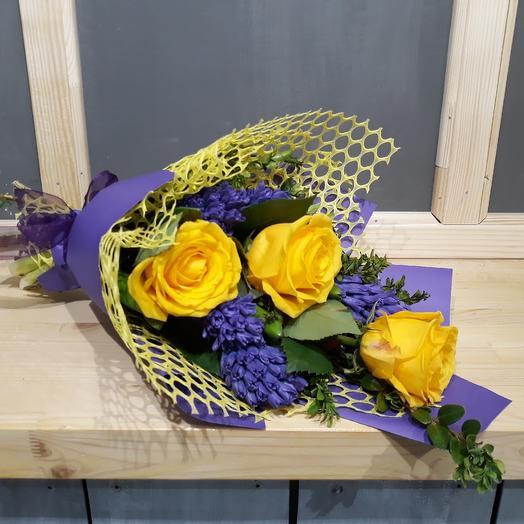 Гиацинты с Розами: букеты цветов на заказ Flowwow