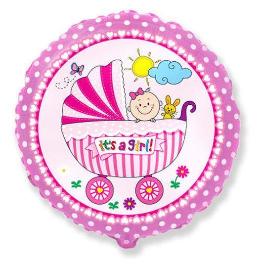 Воздушный шар круг Коляска это девочка