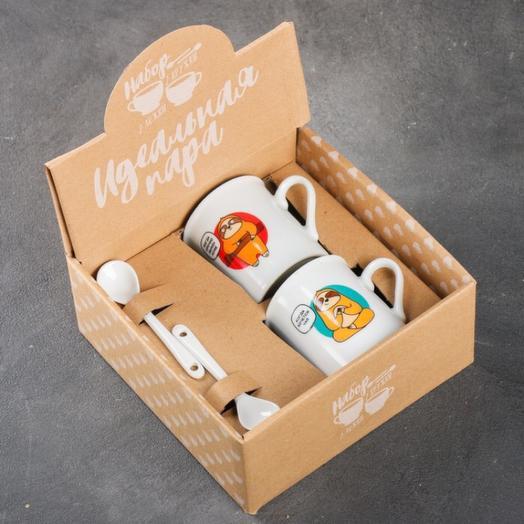 Набор «Чай или кофе»: кружка 180 мл 2 шт., ложка 2 шт