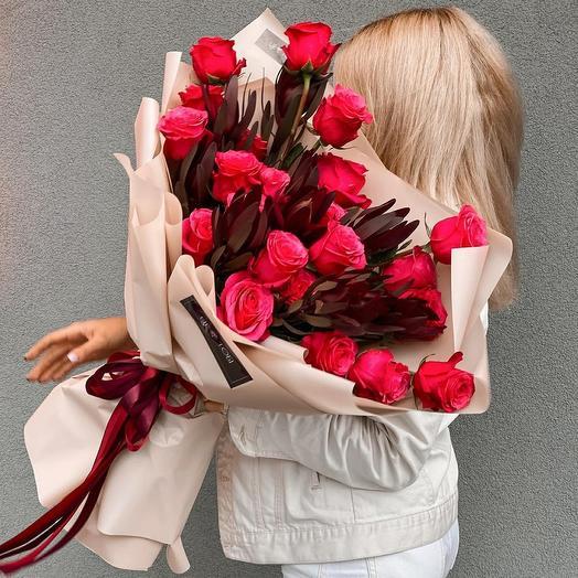 Duo букет с розы и левкодендрона