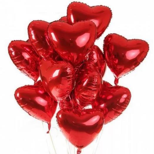 Красное сердце из фольги большое 15 шт