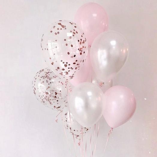 Шары розовые женские «Жемчужные» 9 шт