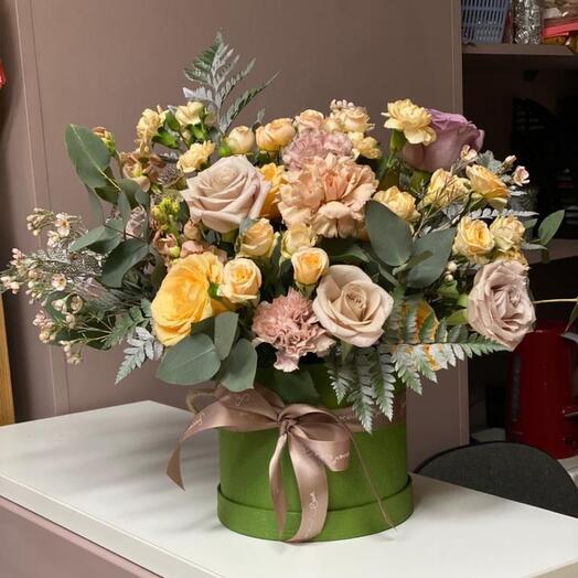 Цветы в коробке Солёная Карамель