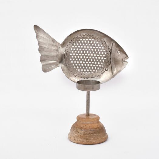 Металлический подсвечник в форме рыбки на деревянной подставке (латунь)(никель), большой/маленький (Цвет-Никель, Размер-Большая)