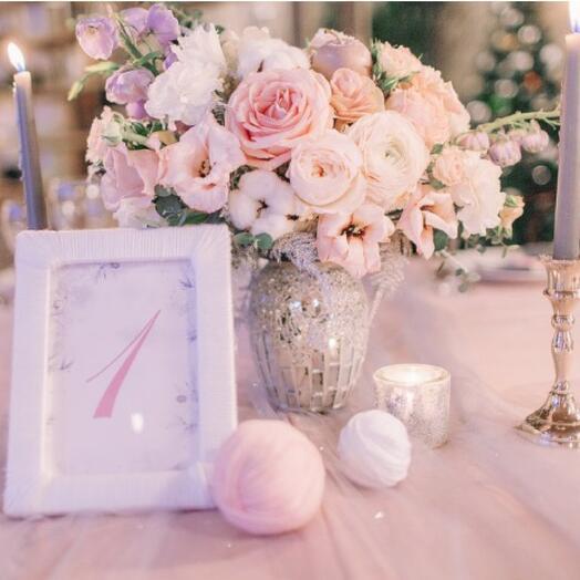 Оформление столов гостей на свадьбу от 3000 рублей  за композицию