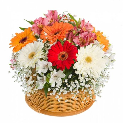 Корзина с цветами Монпасье: букеты цветов на заказ Flowwow